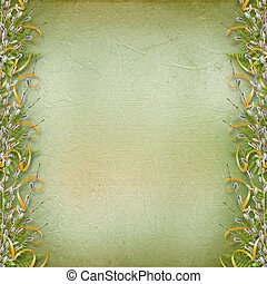 Card for invitation or congratulation with bunch of willow