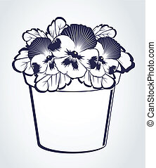 Pansy in pot on background. Vector