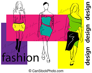 Fashion girls - Vector picture with 3 fashion girls