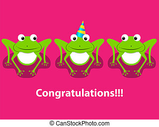 Greeting card - Vector greeting card with  3 frogs