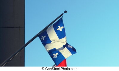 Quebec Flag Pole - Quebec Flag Flying On The Side Of An...
