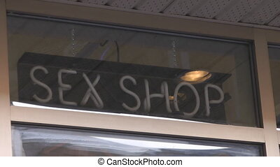 Sex Shop Sign - Flashing Blue Neon Sex Shop Sign