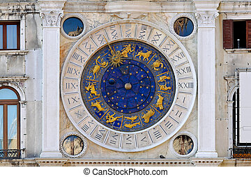 Venice zodiac clock - Zodiac clock at San Marco square in...