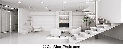 Modern interior of apartment panorama 3d render