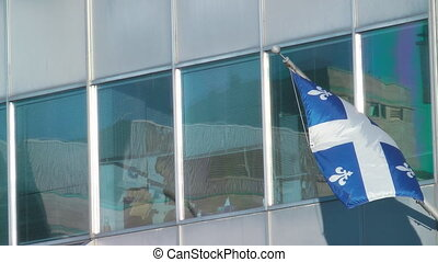 Quebec Canada Flag - Quebec Flag Flying On The Side Of An...