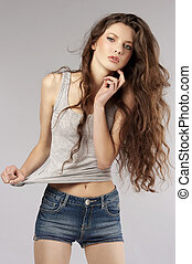 fashion shot of a young girl - fashion shot of beautiful...