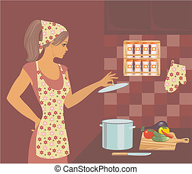 woman in the kitchen - housewife in the kitchen