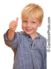 Thumbs up - Portrait of a young boy with thumbs up