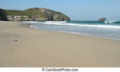 Portreath beach waves, Cornwall UK