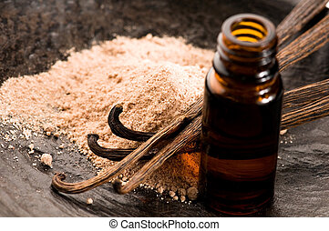 Vanilla With Bottle Of Essential Oil And Powder- Beauty...