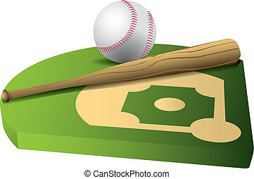 Baseball and bat on 3d field