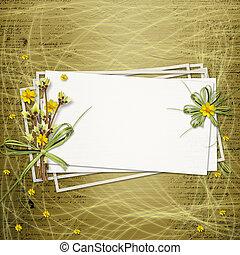 Karta, zaproszenie, Albo, gratulacje, grono, Kwiecie,...