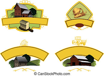Agriculture Labels - A collection of four labels, ideal for...