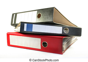 filing folder - three files lying on a white background