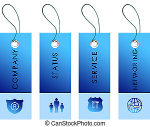 blue labels with communication symbols