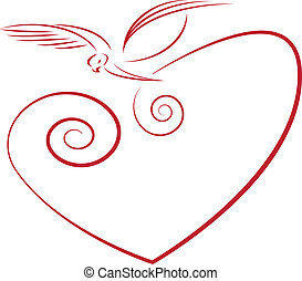 love symbol- dove and heart