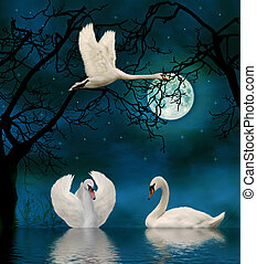 swans in the moonlight - 3d