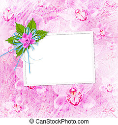 Card for invitation or congratulation with orchids and bow