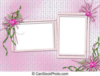 félicitation, arc,  invitation, ou, carte, orchidées