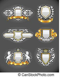 heraldic vintage emblems set silver and gold vector...