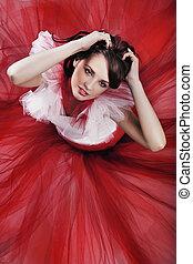 Romantic style shot of a beauty brunette