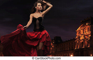 Sexy dancer in urban background