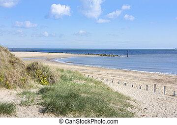 Caister on sea beach and sand dunes - Beach at caister on...