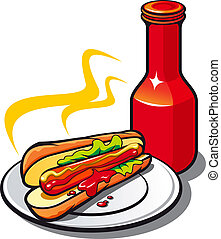 Appetizing hotdog with ketchup on white background