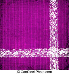 lilac card for invitation or congratulation with lace