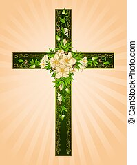 Golden cross with flowers - symbol of the Christian faith.