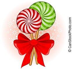 飾られる, 杖, クリスマス, キャンデー, 弓