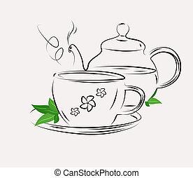 desenho, chá, pote, copo, branca