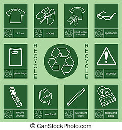 recycling sign collection 2 - Individually layered recycling...