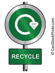 recycling symbol sign - Environmental recycling symbol sign...