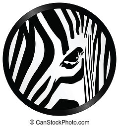 Abstract zebra pattern icon isolated on white background