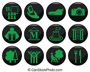 Entertainment and leisure related black icon set