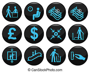 Business and office related black icon set individually...