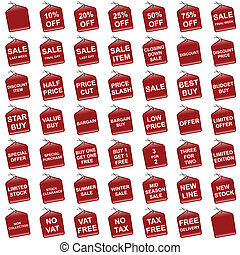 sale and offer tags - Various red retail pricing sale and...
