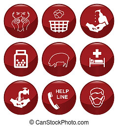 H1N1 swine flu icon collection individually layered