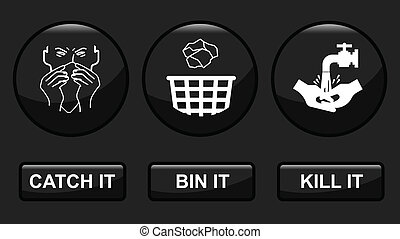 H1N1 swine flu prevention icon set fully layered