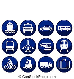 Transport icon set each individually layered