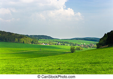 Green scenery with little village