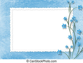 frame for photos on the abstract background with orchids