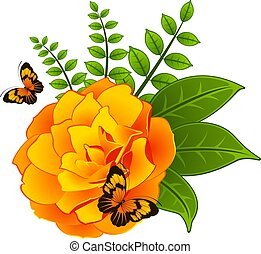 Yellow rose with butterfly.