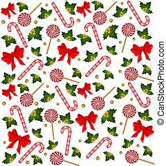 クリスマス, キャンデー, 杖, 飾られる, 弓