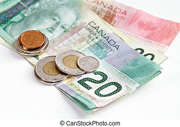canadian money on white