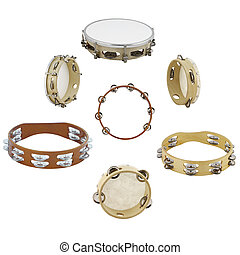 tambourines under the white background