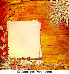 Grunge paper in scrapbooking style with bunch of rose