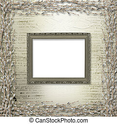 Victorian frames with bunch of willows on the abstract background
