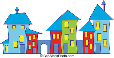 Cartoon town house Colorful houses Vector